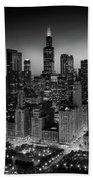 City Light Chicago B W Beach Towel