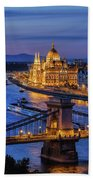 City Of Budapest At Twilight Beach Towel
