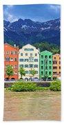 City Of Innsbruck Colorful Inn River Waterfront Panorama Beach Towel