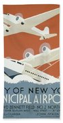City Of New York Municipal Airports Beach Towel