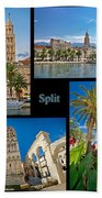 City Of Split Nature And Architecture Collage Beach Towel