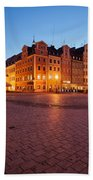 City Of Wroclaw Old Town Market Square At Night Beach Towel