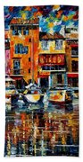 City Pier - Palette Knife Oil Painting On Canvas By Leonid Afremov Beach Towel
