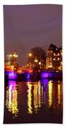 City Scenic From Amsterdam With The Blue Bridge In The Netherlands Beach Towel