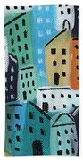 City Stories- Blue And Orange Beach Towel