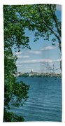 City Through The Trees Beach Towel