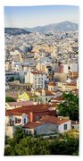 City View Of Old Buildings In Athens, Greece Beach Towel