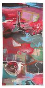 Citysacpe At Twilight  Original Abstract Colorful Landscape Painting For Sale Red Blue  Beach Towel