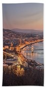 Cityscape Of Budapest, Hungary At Night And Day Beach Towel