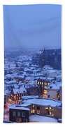 Cityscape Of Utrecht With The Dom Tower  In The Snow 13 Beach Towel