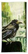 Cityscape With A Crow Beach Sheet