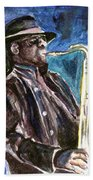 Clarence Clemons Beach Towel by Clara Sue Beym