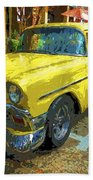 Classic 56 Chevy Car Yellow  Beach Towel