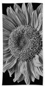Classic Black And White Sunflower Beach Towel