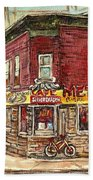 Classic Chinese Restaurant Montreal Memories Silver Dragon Canadian Paintings Carole Spandau         Beach Towel