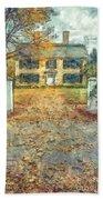 Classic Colonial Home In Autumn Pencil Beach Towel