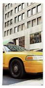 Classic Street View With Yellow Cabs In New York City Beach Towel