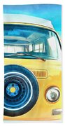 Classic Vw Camper On The Beach Beach Towel