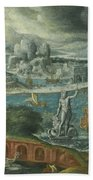 Classical Landscape With Ships Running Before A Storm Towards A Classical Harbour Probably Corinth Beach Towel
