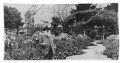 Claude Monet In His Garden Beach Towel