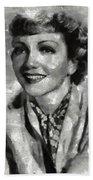 Claudette Colbert Vintage Hollywood Actress Beach Sheet