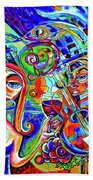 City At Night Music And Wine Abstract Beach Towel