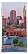 Cle Sunset View From The Shoreway Beach Towel