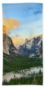 Clearing Storm - View Of Yosemite National Park From Tunnel View. Beach Towel