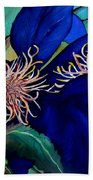 Clematis Regal In Purple And Blue Sold Beach Towel