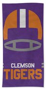 Clemson Tigers Vintage Football Art Beach Towel