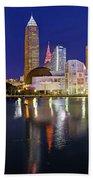 Cleveland Skyline At Dusk Beach Towel