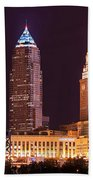 Cleveland Skyline Night Color - Downtown Buildings Beach Towel