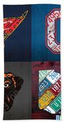 Cleveland Sports Fan Recycled Vintage Ohio License Plate Art Cavaliers Indians Browns And State Map Beach Towel