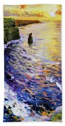 Cliffs Of Moher At Sunset Beach Towel