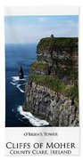 Cliffs Of Moher Ireland Triptych Beach Sheet