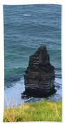 Cliff's Of Moher Needle Rock Formation In Ireland Beach Towel