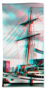 Clipper City - Use Red-cyan 3d Glasses Beach Towel