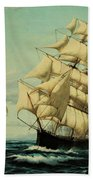 Clipper Ships Racing To Port Beach Towel