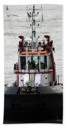 Close Up Of A Tugboat In Venice Harbor Beach Towel
