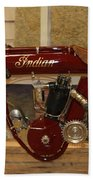 close up of red Indian motorcycle   # Beach Towel