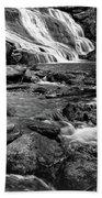 Close Up Of Reedy Falls In South Carolina B W Beach Towel