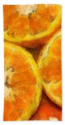 Close Up Of The Cut Section Of Some Oranges Beach Towel