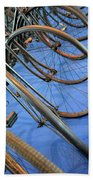 Close Up On Many Wheels From Bicycles  Beach Towel