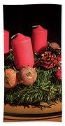 Closeup Of An Advent Wreath, Unlit Candles Beach Towel
