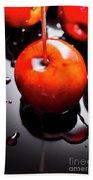 Closeup Of Red Candy Apple On Stick Beach Sheet