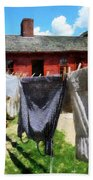 Clothes Hanging On Line Closeup Beach Sheet