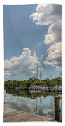 Clouds Down The Bay Beach Towel