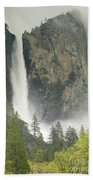 Clouds Hang Over Bridaveil Falls Beach Towel