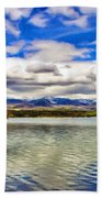 Clouds Over Distant Mountains Beach Towel