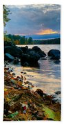 Cloudy Autumn Sunset Beach Towel